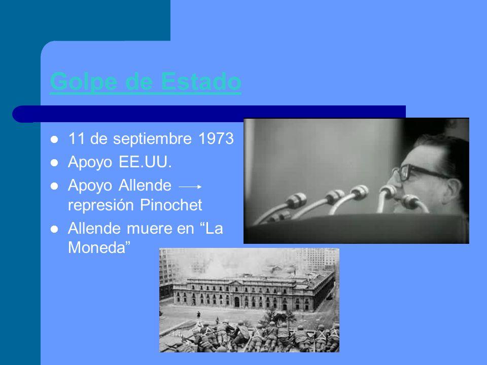 Golpe de Estado 11 de septiembre 1973 Apoyo EE.UU. Apoyo Allende represión Pinochet Allende muere en La Moneda