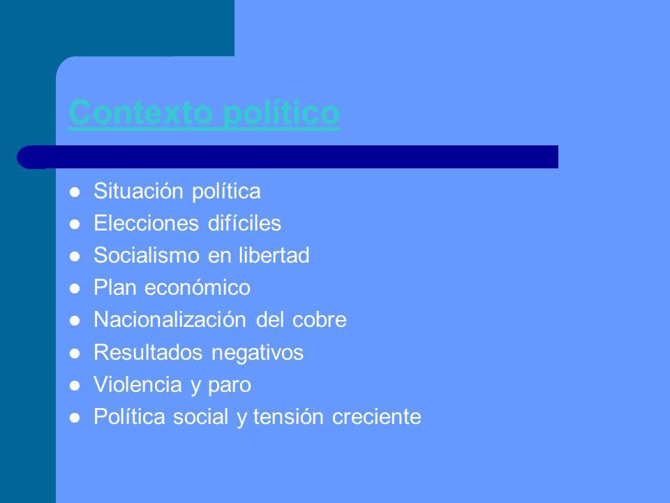 Contexto político Situación política Elecciones difíciles Socialismo en libertad Plan económico Nacionalización del cobre Resultados negativos Violenc
