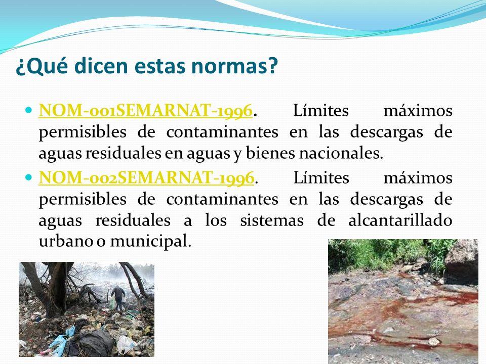 ¿Qué dicen estas normas? NOM-001SEMARNAT-1996. Límites máximos permisibles de contaminantes en las descargas de aguas residuales en aguas y bienes nac
