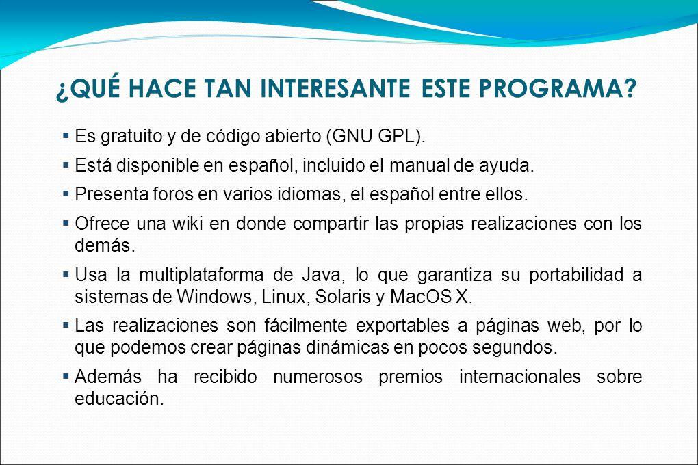 ¿QUÉ HACE TAN INTERESANTE ESTE PROGRAMA? Es gratuito y de código abierto (GNU GPL). Está disponible en español, incluido el manual de ayuda. Presenta