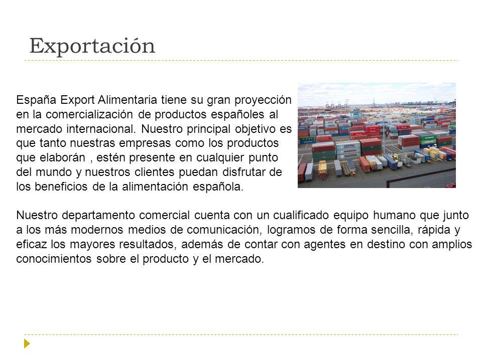 Exportación España Export Alimentaria tiene su gran proyección en la comercialización de productos españoles al mercado internacional.