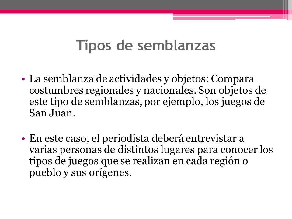 Tipos de semblanzas La semblanza de actividades y objetos: Compara costumbres regionales y nacionales. Son objetos de este tipo de semblanzas, por eje