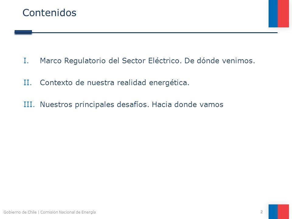 Contenidos I.Marco Regulatorio del Sector Eléctrico. De dónde venimos. II.Contexto de nuestra realidad energética. III.Nuestros principales desafíos.