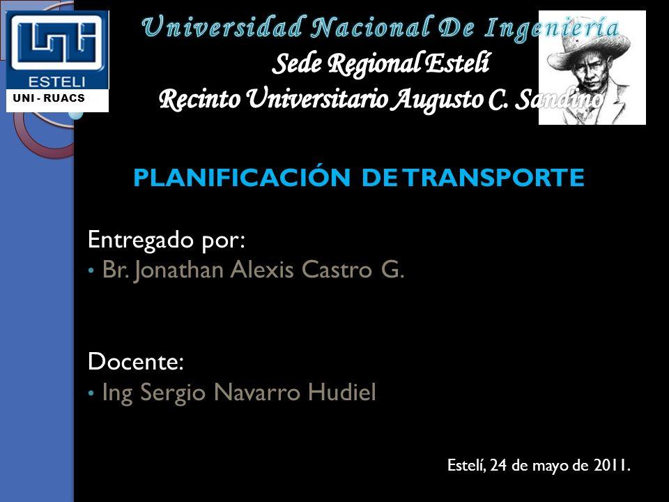 PLANIFICACIÓN DE TRANSPORTE Entregado por: Br.Jonathan Alexis Castro G.
