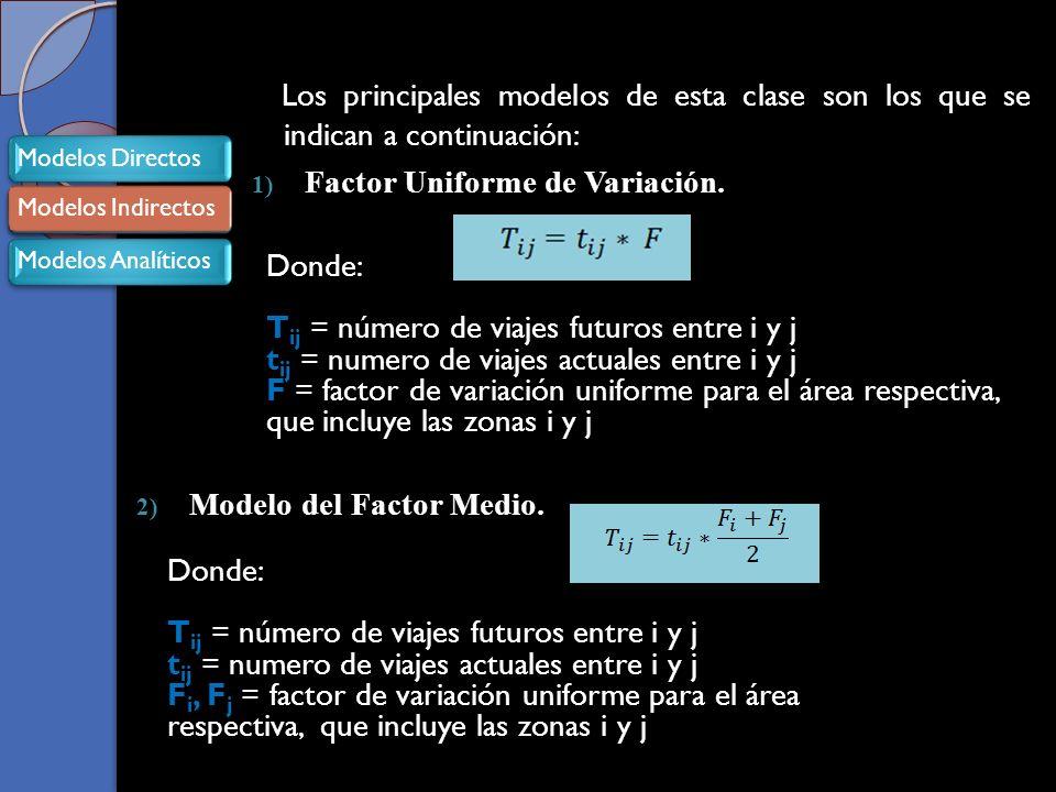 Los principales modelos de esta clase son los que se indican a continuación: 1) Factor Uniforme de Variación.