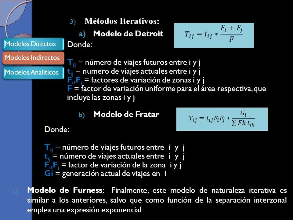 3) Métodos Iterativos: a)Modelo de Detroit Donde: T ij = número de viajes futuros entre i y j t ij = numero de viajes actuales entre i y j F i,F j = factores de variación de zonas i y j F = factor de variación uniforme para el área respectiva, que incluye las zonas i y j b) Modelo de Fratar Donde: T ij = número de viajes futuros entre i y j t ij = número de viajes actuales entre i y j F i,F j = factor de variación de la zona i y j Gi = generación actual de viajes en i c) Modelo de Furness: Finalmente, este modelo de naturaleza iterativa es similar a los anteriores, salvo que como función de la separación interzonal emplea una expresión exponencial Modelos DirectosModelos IndirectosModelos Analíticos Modelos Indirectos