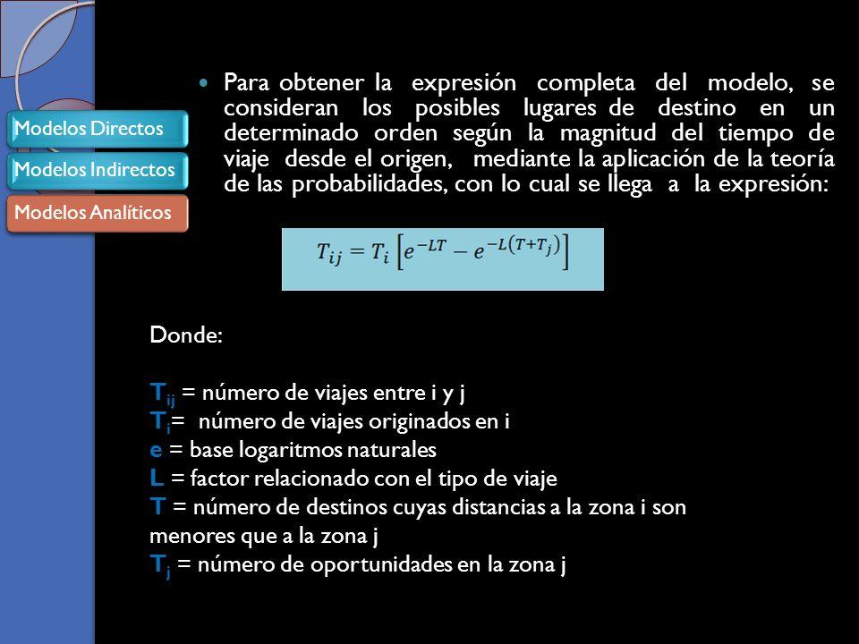 Para obtener la expresión completa del modelo, se consideran los posibles lugares de destino en un determinado orden según la magnitud del tiempo de viaje desde el origen, mediante la aplicación de la teoría de las probabilidades, con lo cual se llega a la expresión: Donde: T ij = número de viajes entre i y j T i = número de viajes originados en i e = base logaritmos naturales L = factor relacionado con el tipo de viaje T = número de destinos cuyas distancias a la zona i son menores que a la zona j T j = número de oportunidades en la zona j Modelos DirectosModelos IndirectosModelos Analíticos