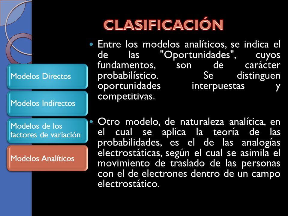 Entre los modelos analíticos, se indica el de las Oportunidades , cuyos fundamentos, son de carácter probabilístico.