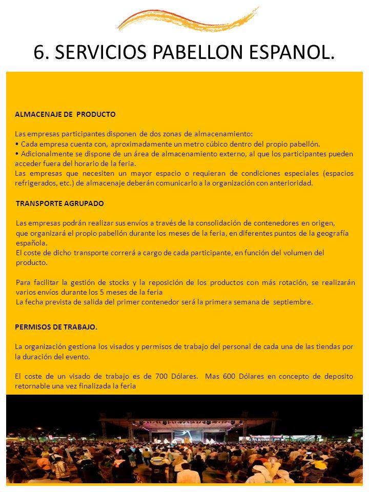 6. SERVICIOS PABELLON ESPANOL. ALMACENAJE DE PRODUCTO Las empresas participantes disponen de dos zonas de almacenamiento: Cada empresa cuenta con, apr