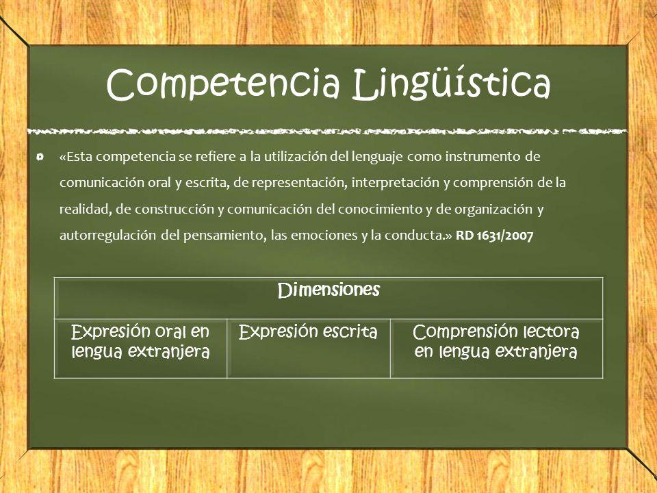 Competencia Lingüística «Esta competencia se refiere a la utilización del lenguaje como instrumento de comunicación oral y escrita, de representación,