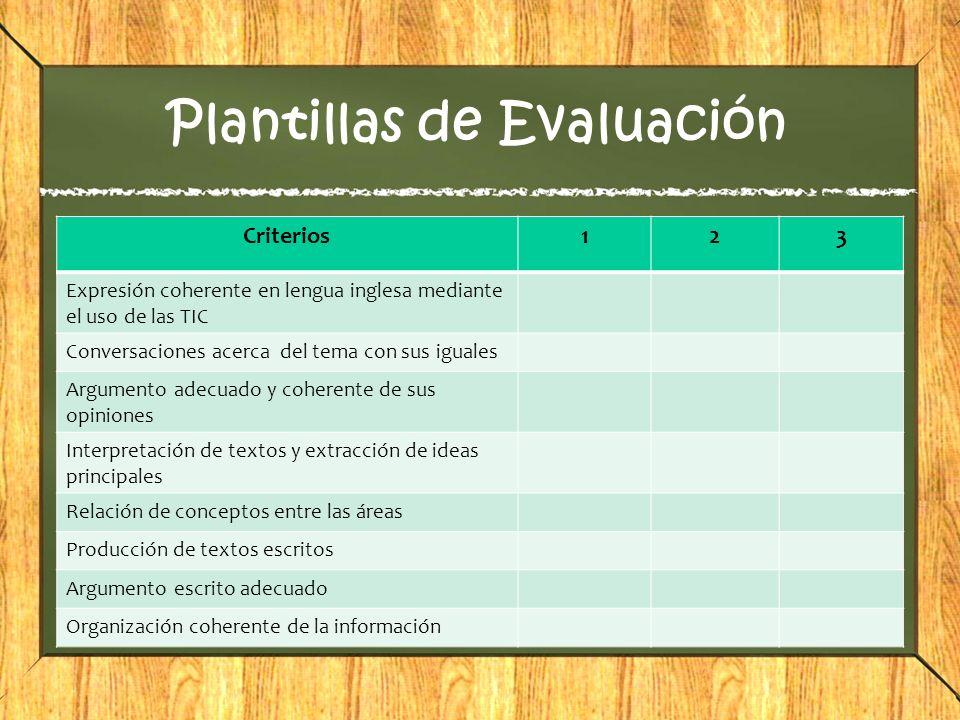 Plantillas de Evaluación Criterios123 Expresión coherente en lengua inglesa mediante el uso de las TIC Conversaciones acerca del tema con sus iguales