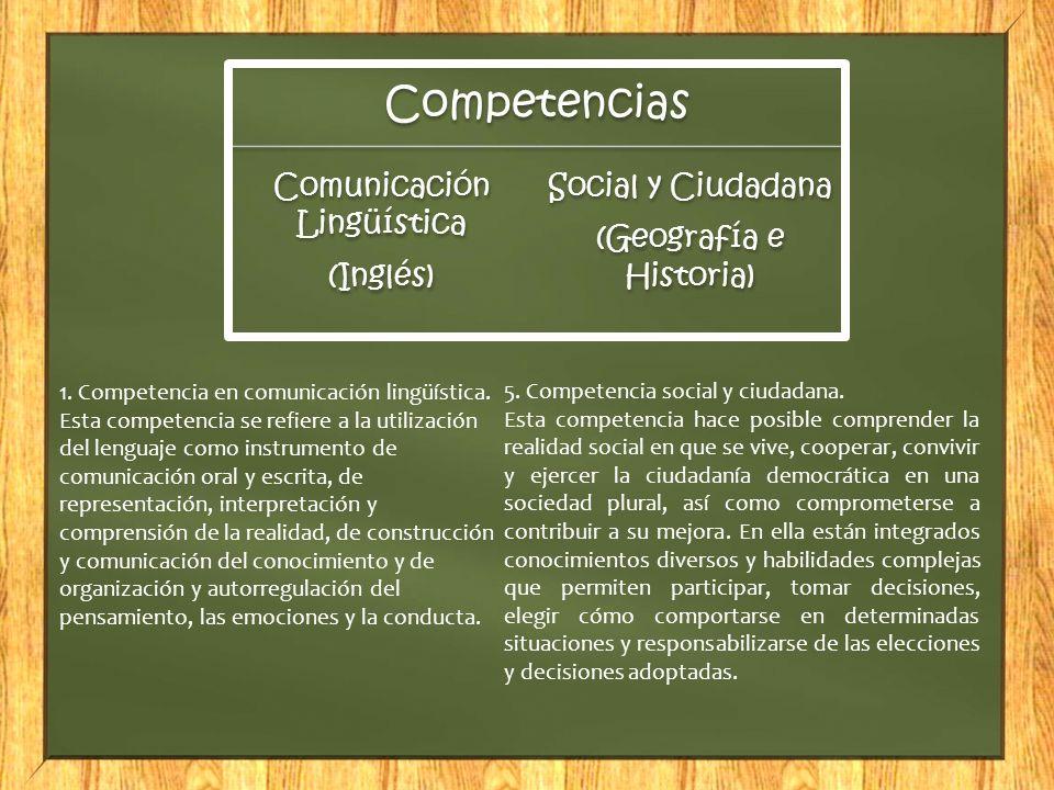 Competencias Comunicación Lingüística (Inglés) Social y Ciudadana (Geografía e Historia) 1. Competencia en comunicación lingüística. Esta competencia