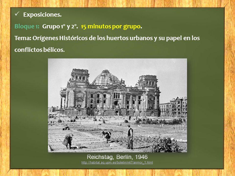 Exposiciones. Bloque 1: Grupo 1º y 2º. 15 minutos por grupo. Tema: Orígenes Históricos de los huertos urbanos y su papel en los conflictos bélicos. Re