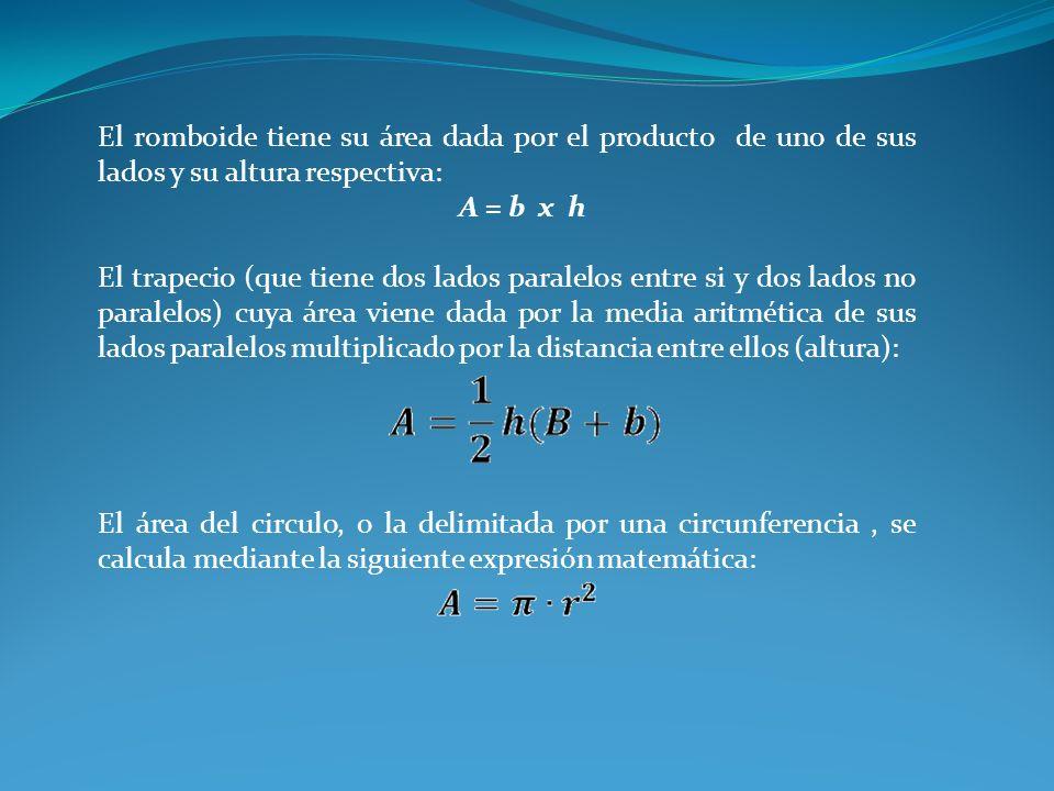 El romboide tiene su área dada por el producto de uno de sus lados y su altura respectiva: A = b x h El trapecio (que tiene dos lados paralelos entre