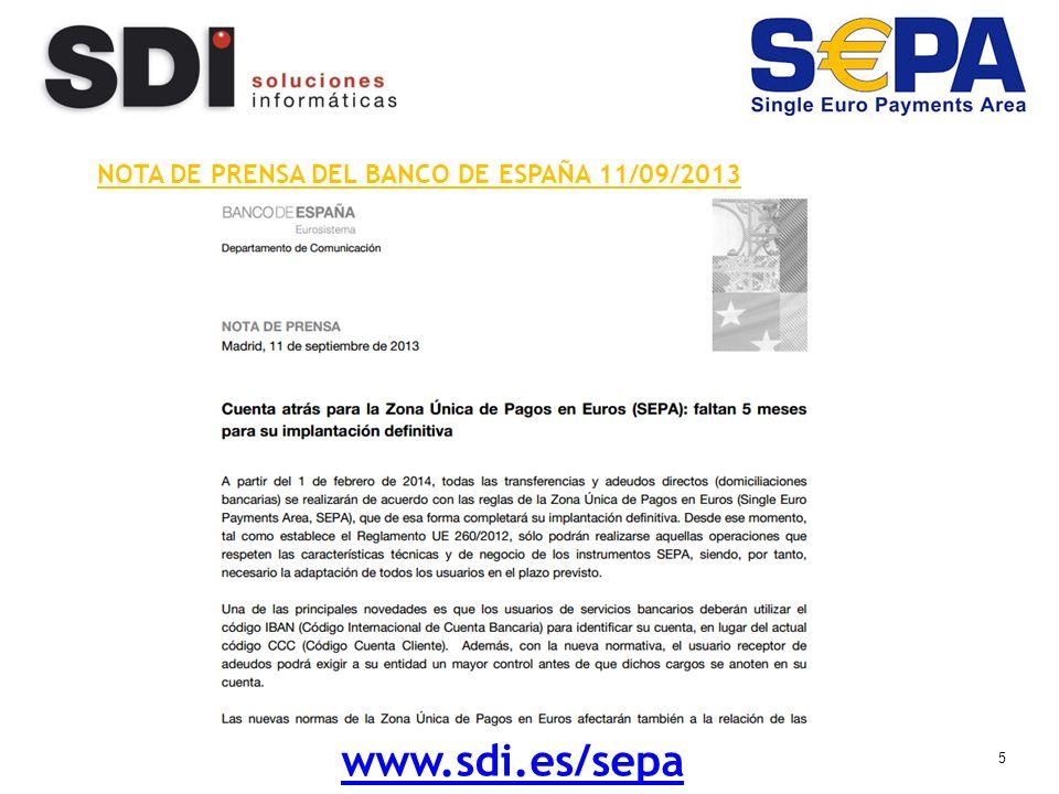 5 NOTA DE PRENSA DEL BANCO DE ESPAÑA 11/09/2013