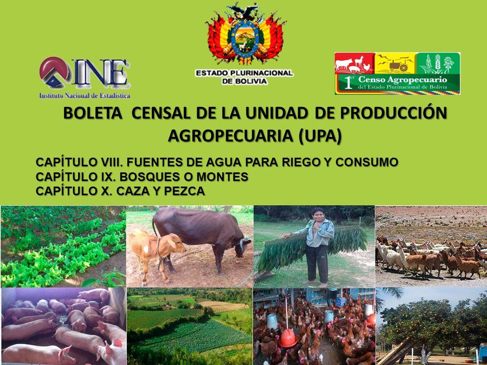 BOLETA CENSAL DE LA UNIDAD DE PRODUCCIÓN AGROPECUARIA (UPA) CAPÍTULO VIII. FUENTES DE AGUA PARA RIEGO Y CONSUMO CAPÍTULO IX. BOSQUES O MONTES CAPÍTULO