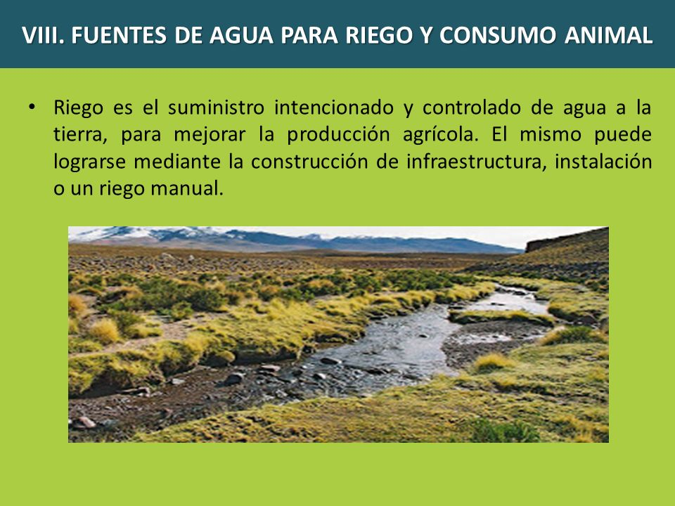 VIII. FUENTES DE AGUA PARA RIEGO Y CONSUMO ANIMAL Riego es el suministro intencionado y controlado de agua a la tierra, para mejorar la producción agr