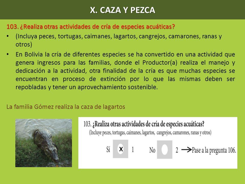 X. CAZA Y PEZCA 103. ¿Realiza otras actividades de cría de especies acuáticas? (Incluya peces, tortugas, caimanes, lagartos, cangrejos, camarones, ran