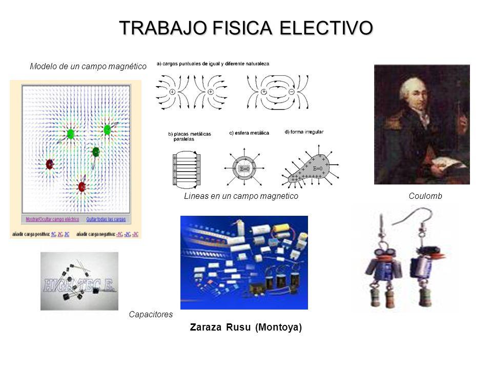 TRABAJO FISICA ELECTIVO Modelo de un campo magnético Lineas en un campo magnetico Coulomb Capacitores Zaraza Rusu (Montoya)