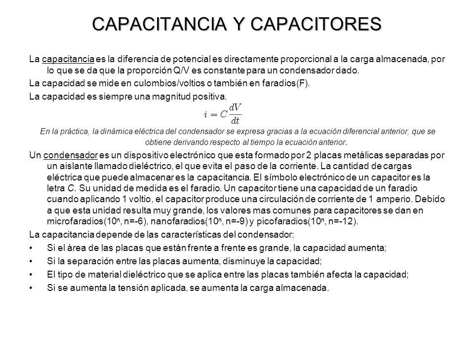 CAPACITANCIA Y CAPACITORES La capacitancia es la diferencia de potencial es directamente proporcional a la carga almacenada, por lo que se da que la p