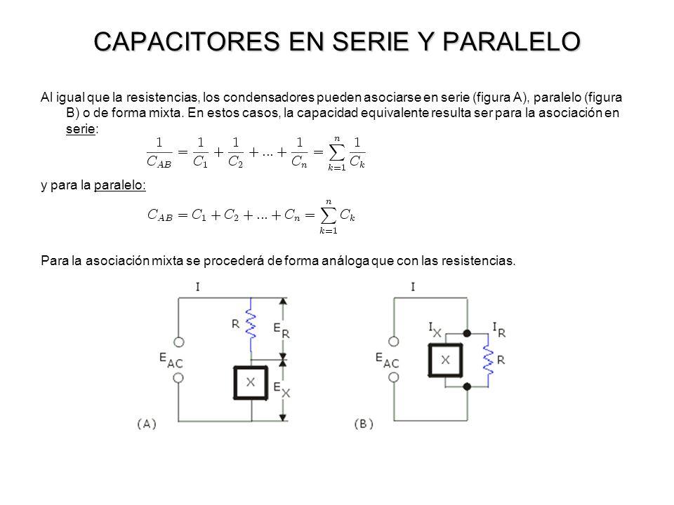 CAPACITORES EN SERIE Y PARALELO Al igual que la resistencias, los condensadores pueden asociarse en serie (figura A), paralelo (figura B) o de forma m