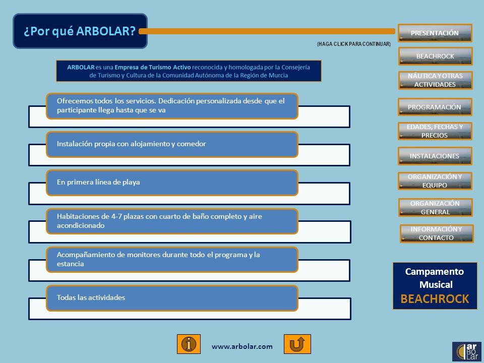 www.arbolar.com Ofrecemos todos los servicios. Dedicación personalizada desde que el participante llega hasta que se va Instalación propia con alojami
