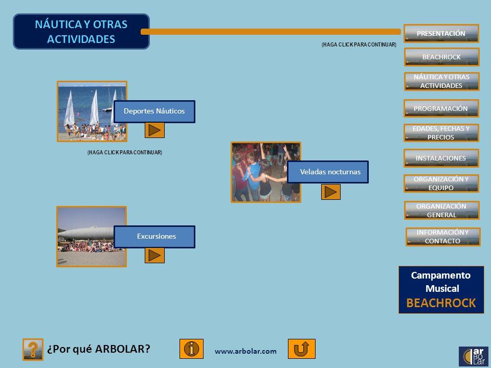 www.arbolar.com ¿Por qué ARBOLAR? NÁUTICA Y OTRAS ACTIVIDADES (HAGA CLICK PARA CONTINUAR) Excursiones Deportes Náuticos Veladas nocturnas Campamento M