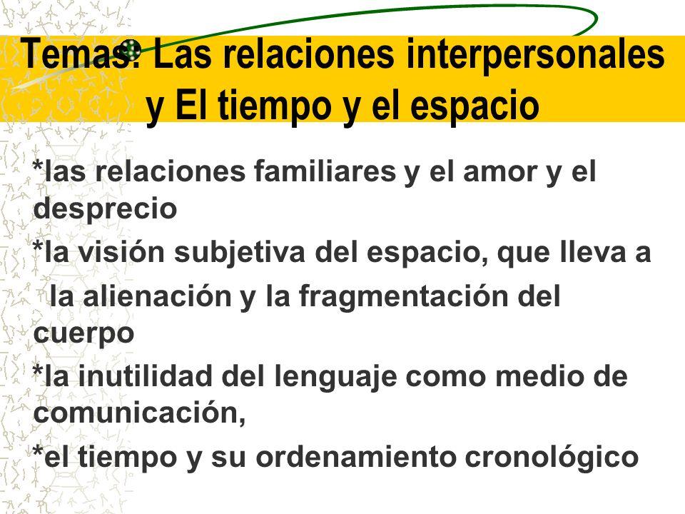 Temas: Las relaciones interpersonales y El tiempo y el espacio *las relaciones familiares y el amor y el desprecio *la visión subjetiva del espacio, que lleva a la alienación y la fragmentación del cuerpo *la inutilidad del lenguaje como medio de comunicación, *el tiempo y su ordenamiento cronológico
