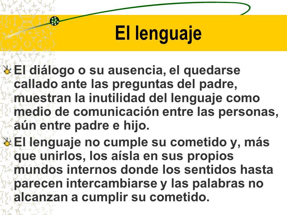 El lenguaje El diálogo o su ausencia, el quedarse callado ante las preguntas del padre, muestran la inutilidad del lenguaje como medio de comunicación entre las personas, aún entre padre e hijo.