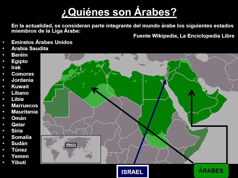 En la actualidad, se consideran parte integrante del mundo árabe los siguientes estados miembros de la Liga Àrabe: Fuente Wikipedia, La Enciclopedia L