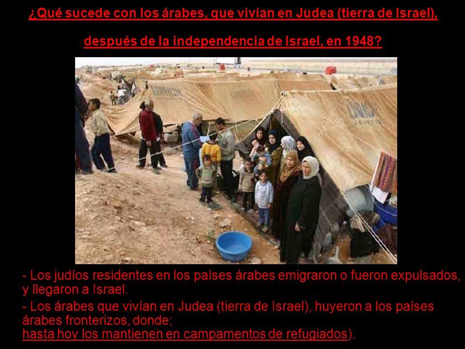 ¿Qué sucede con los árabes, que vivían en Judea (tierra de Israel), después de la independencia de Israel, en 1948? - Los judíos residentes en los paí