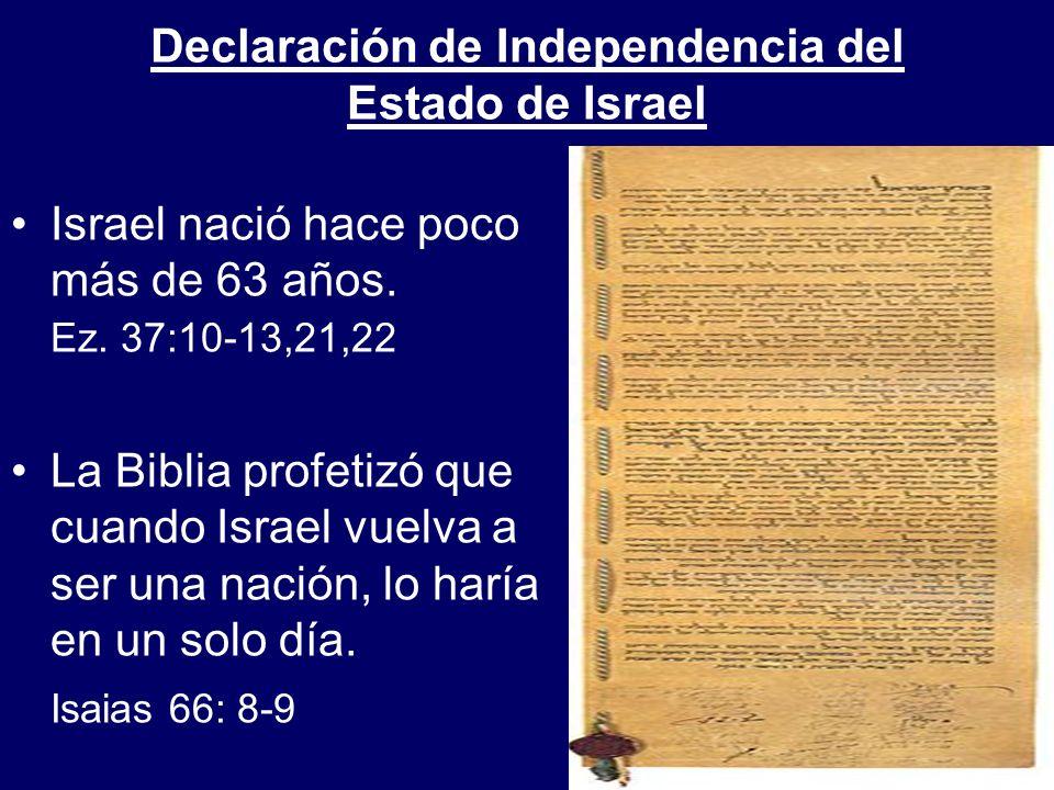 Israel nació hace poco más de 63 años. Ez. 37:10-13,21,22 La Biblia profetizó que cuando Israel vuelva a ser una nación, lo haría en un solo día. Isai