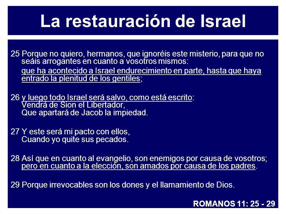 La restauración de Israel 25 Porque no quiero, hermanos, que ignoréis este misterio, para que no seáis arrogantes en cuanto a vosotros mismos: que ha