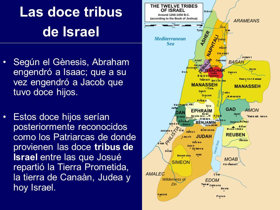 Las doce tribus de Israel Según el Gènesis, Abraham engendró a Isaac; que a su vez engendró a Jacob que tuvo doce hijos. Estos doce hijos serían poste