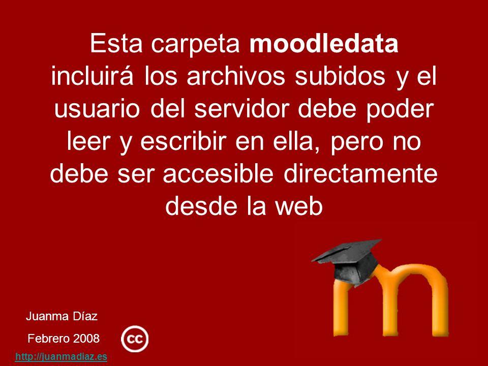 Juanma Díaz Febrero 2008 http://juanmadiaz.es Esta carpeta moodledata incluirá los archivos subidos y el usuario del servidor debe poder leer y escribir en ella, pero no debe ser accesible directamente desde la web