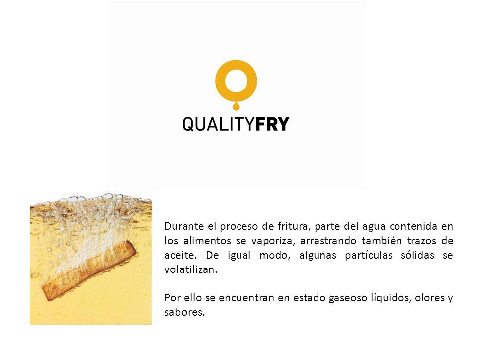 Durante el proceso de fritura, parte del agua contenida en los alimentos se vaporiza, arrastrando también trazos de aceite. De igual modo, algunas par