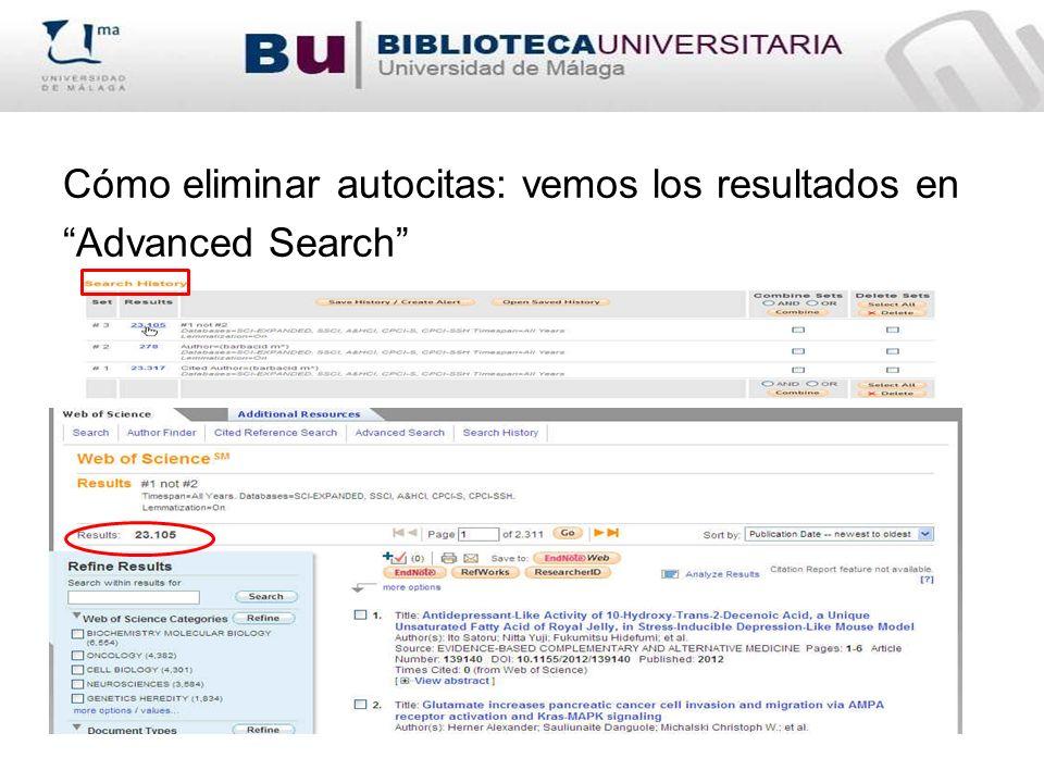Cómo eliminar autocitas: vemos los resultados en Advanced Search