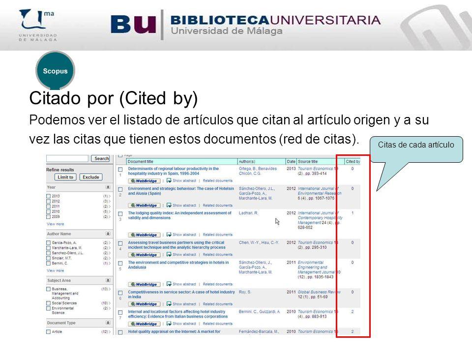 Citado por (Cited by) Podemos ver el listado de artículos que citan al artículo origen y a su vez las citas que tienen estos documentos (red de citas).