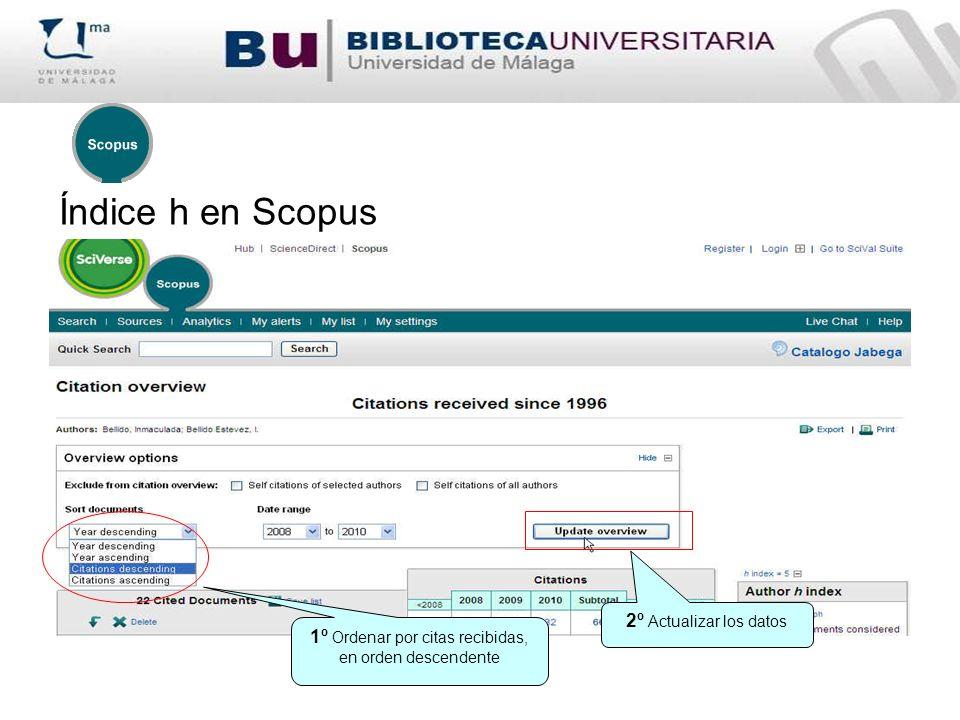Índice h en Scopus 1º Ordenar por citas recibidas, en orden descendente 2º Actualizar los datos