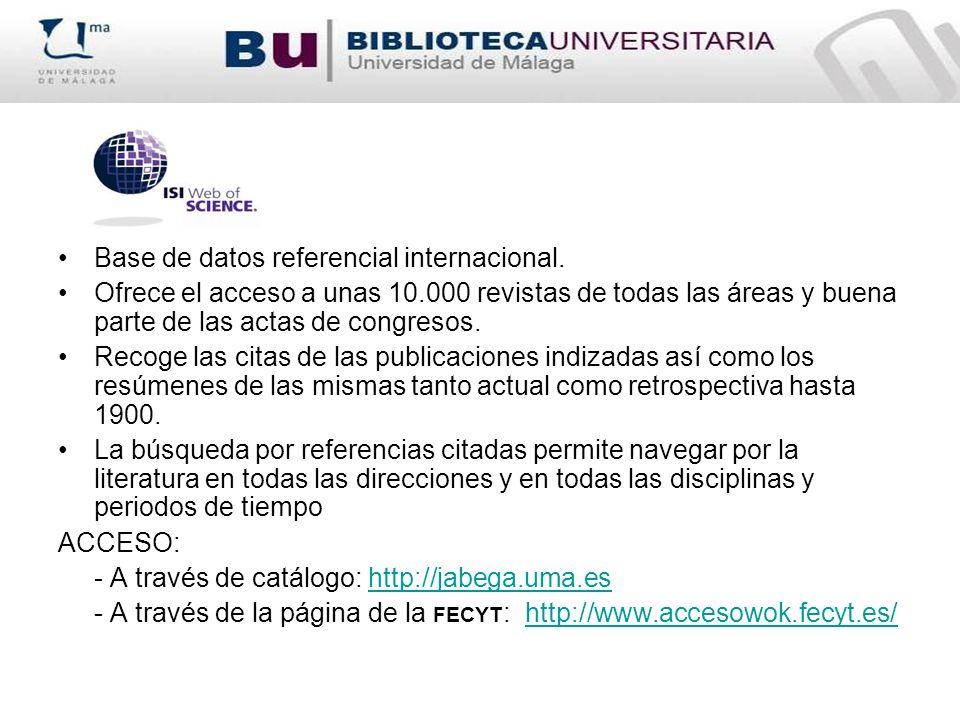 Base de datos referencial internacional.