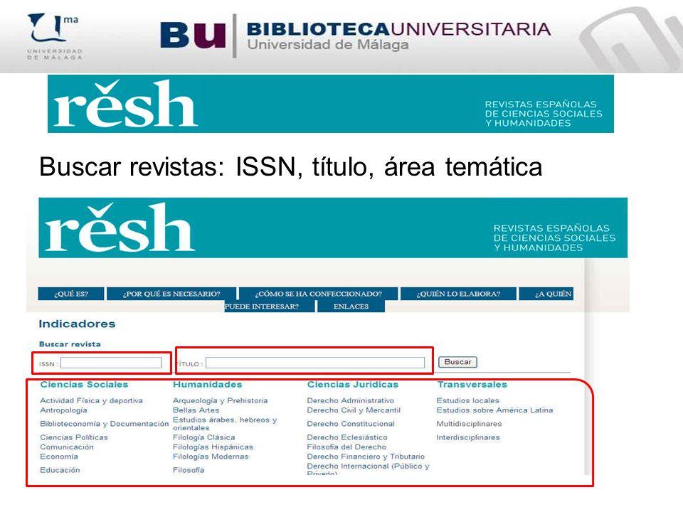 Buscar revistas: ISSN, título, área temática
