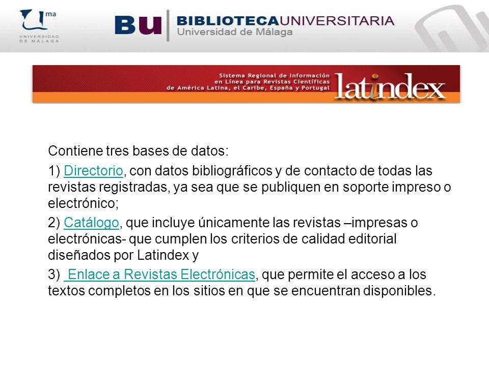 Contiene tres bases de datos: 1) Directorio, con datos bibliográficos y de contacto de todas las revistas registradas, ya sea que se publiquen en sopo