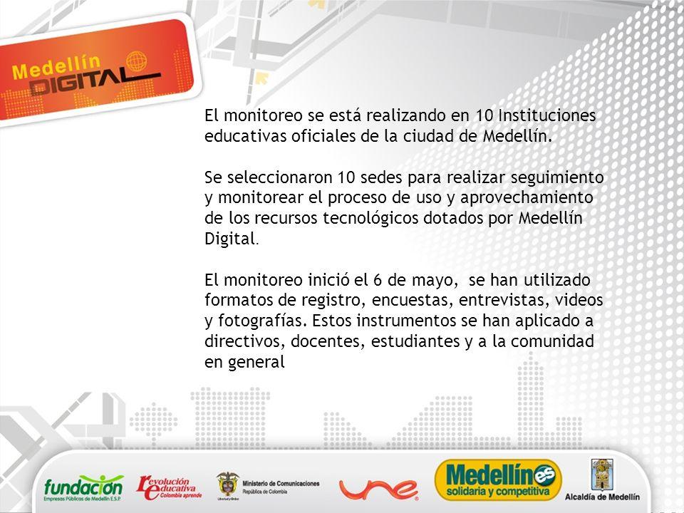 El monitoreo se está realizando en 10 Instituciones educativas oficiales de la ciudad de Medellín.