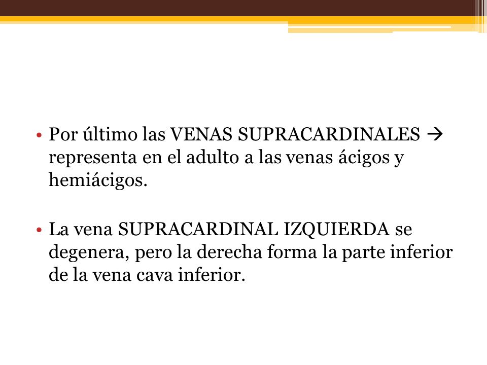 Por último las VENAS SUPRACARDINALES representa en el adulto a las venas ácigos y hemiácigos.