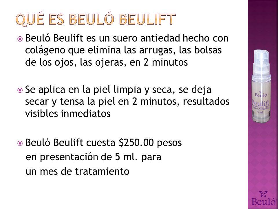 Beuló Beulift es un suero antiedad hecho con colágeno que elimina las arrugas, las bolsas de los ojos, las ojeras, en 2 minutos Se aplica en la piel limpia y seca, se deja secar y tensa la piel en 2 minutos, resultados visibles inmediatos Beuló Beulift cuesta $250.00 pesos en presentación de 5 ml.