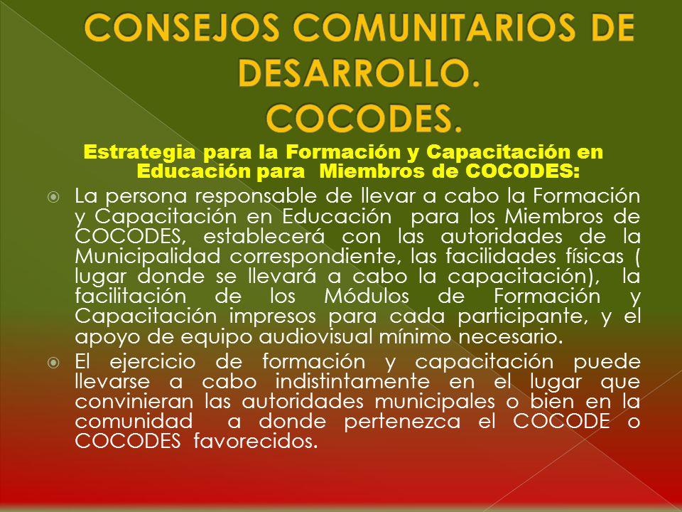 CARTA AL LECTOR: Los Módulos de Formación y Capacitación en Educación para personas que integran los Consejos Comunitarios de Desarrollo, COCODES, est