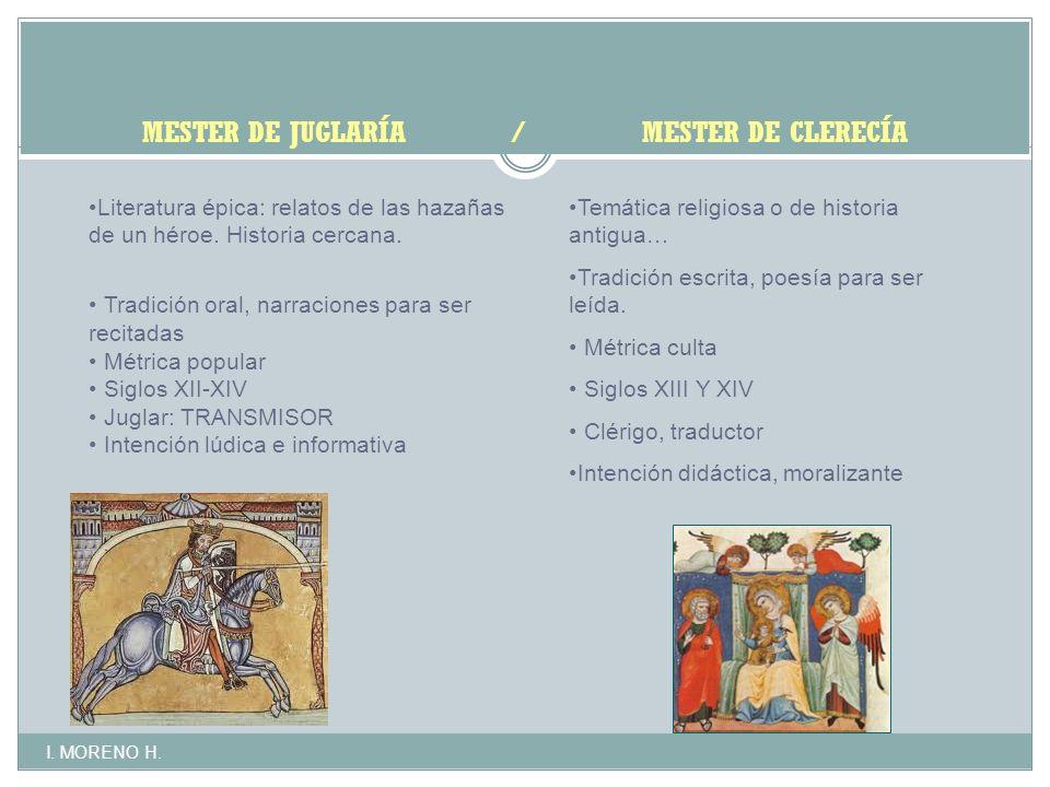 MESTER DE JUGLARÍA / MESTER DE CLERECÍA Literatura épica: relatos de las hazañas de un héroe.