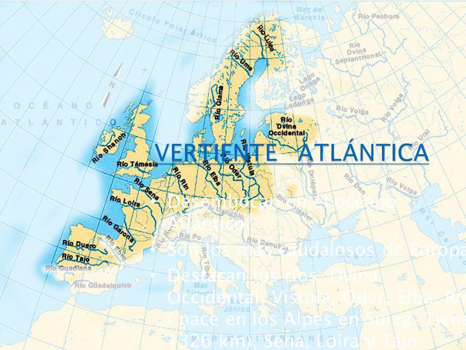 Desembocan en el océano Atlántico. Son los más caudalosos de Europa Destacan los ríos: Dvina Occidental, Vístula, Oder, Elba, Rin ( nace en los Alpes