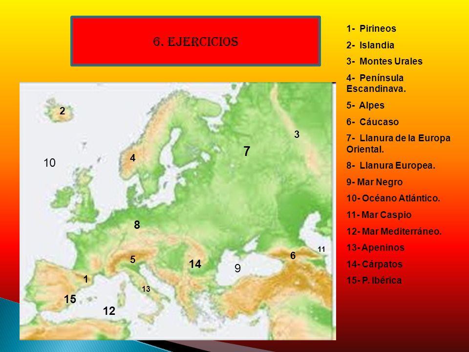 1 2 3 4 5 6 7 8 9 10 11 12 13 14 15 1- Pirineos 2- Islandia 3- Montes Urales 4- Península Escandinava. 5- Alpes 6- Cáucaso 7- Llanura de la Europa Ori