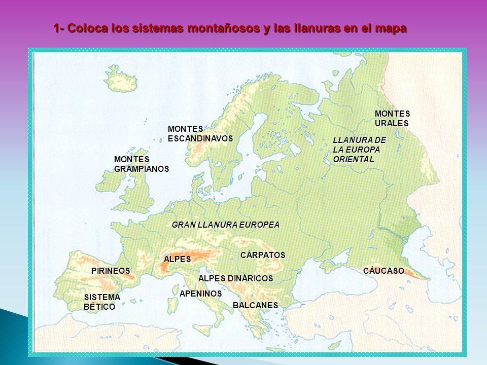 M 1- Coloca los sistemas montañosos y las llanuras en el mapa MONTES ESCANDINAVOS PIRINEOS SISTEMA BÉTICO ALPES APENINOS BALCANES CÁRPATOS CÁUCASO MON